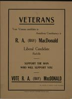 Veterans - Your Veteran candidate in Assiniboia Constituency is R.A. (Ray) MacDonald