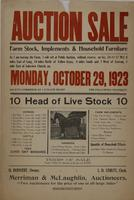 Auction Sale - Farm Stock, Implements & Household Furniture