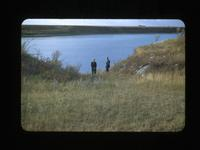 J.C. Hunter and Bruce Buchanan at Old Clark's Crossing Clarksboro Sask Sept.27-1948