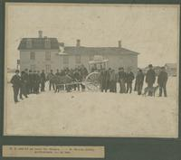W.F. Gouin en route for Ottawa - - W. Dewan, Livery, Battleford, Dec. 20, 1901