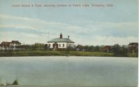 Court House & Park, showing portion of Fairly Lake Wolseley, Sask.