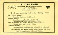 F. T. Parker Optometrist and Eyesight Specialist [advertisement]