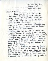 Letter from F. Horsman Varley to Mr. Cameron to Mr. Cameron, April 22nd, 1928