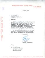 Letter from W.F. Cooke to Mr. J. Climer, April 27, 1971