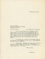Letter from Principal to W.P. Bate, February 17, 1925.