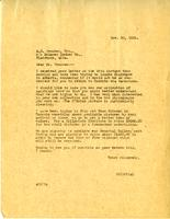 Letter from AWC to A.G. Peuchen, Nov. 30, 1926.