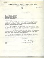 Letter from Edward Wedge to Mr. R.J. Morris, February 19, 1953.