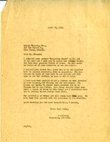 Letter from AWC to Goerge Thomson, April 23, 1928.