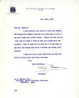 Letter from Eric Brown to A.W. Cameron, October 20, 1927