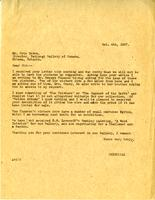 Letter from A.W. Cameron to Eric Brown, October 4, 1927