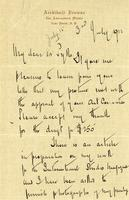 Letter from Archibald Browne to Mr. Pyke, July 3, 1922