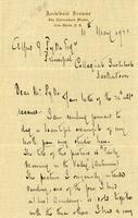 Letter from Archibald Browne to Alfred J. Pyke, May 4, 1922