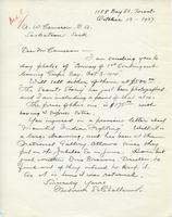Letter from Frederick S. Challener to A.W. Cameron, October 12, 1927