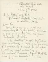 Letter from T.G. Greene to A.J. Pyke, November 9, 1920