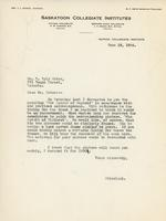 Letter from A.W. Cameron to Mr. E. Wyly Grier, June 18, 1924