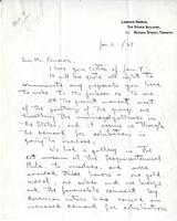 Letter from Lawren Harris to Mr. Cameron, Jan. 11/27