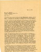 Letter from AWC to Mr. A.Y. Jackson, May 4, 1927