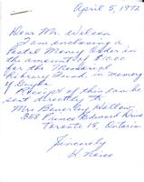 Correspondence about Beverley Hallow's donation to the Nutana Memorial Art Gallery, April 1972