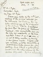 Letter from Charles W. Jefferys to Mr. A. J. Pyke, July 17, '20