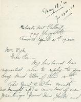 Letter from Elizabeth A. Knowles to Mr. Pyke, April 21st, 1920