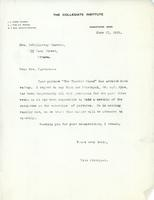 Letter from Vice Principal to Mrs. Knowles, June 27, 1921.
