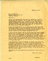 Letter from A.W. Cameron to J.W. Beatty, March 30, 1927