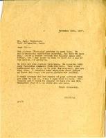 Letter from AWC to James Henderson, November 14th, 1927.