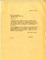 Letter from A.W. Cameron to J.W. Beatty, March 8, 1927