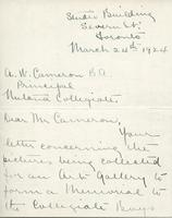 Letter from Marion Long to A.W. Cameron, March 24th 1924