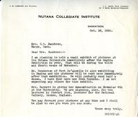 Letter from Principal to Mrs. Jacobson, Oct. 28, 1926.