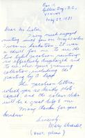 Letter from Mary Alexander to Mr. Listoe, May 29, 1981