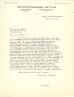 Letter from Principal to Mrs. C.W.V. Lyall, March 13, 1924.