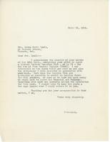 Letter from Principal to Mrs. Laura Muntz Lyall, March 26, 1924