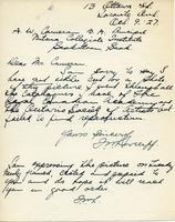 Letter from F.N. Loveroff to Mr. Cameron, Oct. 9. '27