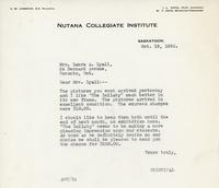 Letter from Principal to Mrs. Laura A. Lyall, Oct. 19, 1926.