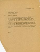 Letter from AWC to Laura A. Lyall, April 20th, 1927.