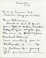 Letter from Laura Muntz Lyall to Mr. W.A. Cameron, March 18th 1924