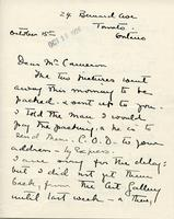 Letter from Laura A. Lyall to Mr. Cameron, October 15th