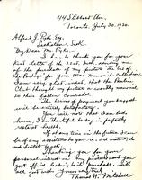 Letter from Thomas W. Mitchell to Alfred J. Pyke, July 30. 1920.