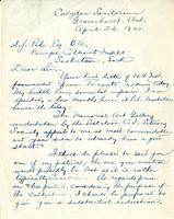 Letter from Thomas W. Mitchell to A.J. Pyke, April 26. 1920.