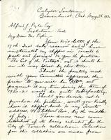 Letter from Thomas W. Mitchell to Alfred J. Pyke, May 25. 1920