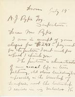 Letter from Homer Watson to A.J. Pyke, July 14