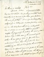 Letter from Alfred J. Pyke to Mr. Mitchell, July 9. 1920.