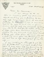 Letter from G.A. Reid to Mr. Cameron, Oct 31st 1924