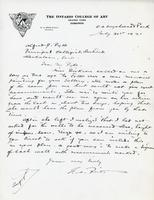 Letter from G.A. Reid to Alfred J. Pyke, July 31st 1921