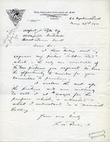 Letter from G.A. Reid to Alfred J. Pyke, May 27th 1921