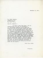 Letter from Principal to Mr. Emile Walters, November 24, 1925.