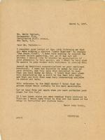Letter from Principal to Mr. Emile Walters, March 9, 1927.