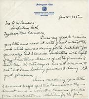 Letter from Emile Walters to Mr. A.W. Cameron, Jan 12-1925