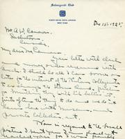Letter from Emile Walters to Mr. A.W. Cameron, Dec. 15 1925.
